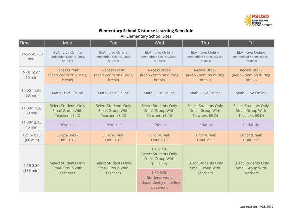 Distance Learning Schedule Overview