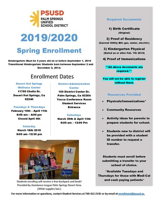 Enrollment Center Dates