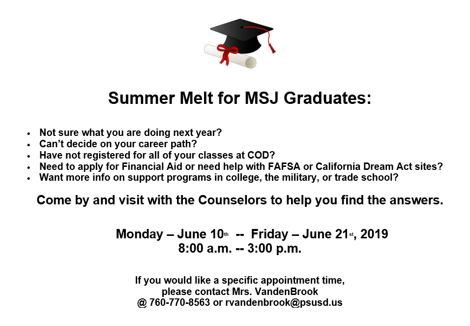 Summer Counselors Available to Support Students